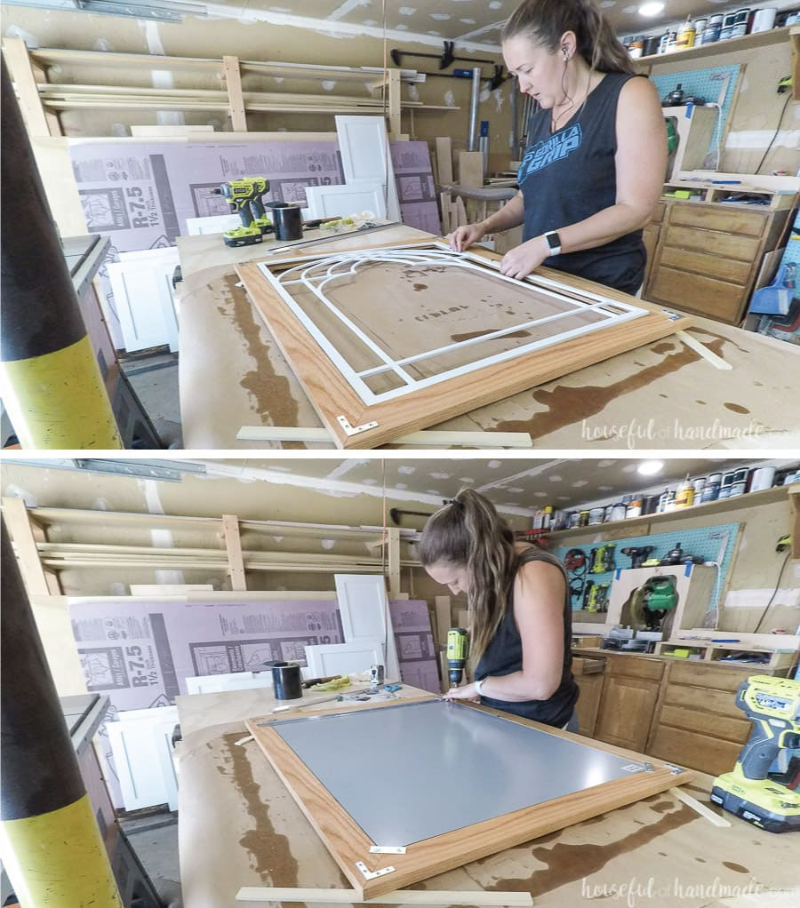 Attaching the window frame panel and mirror to the outer frame.