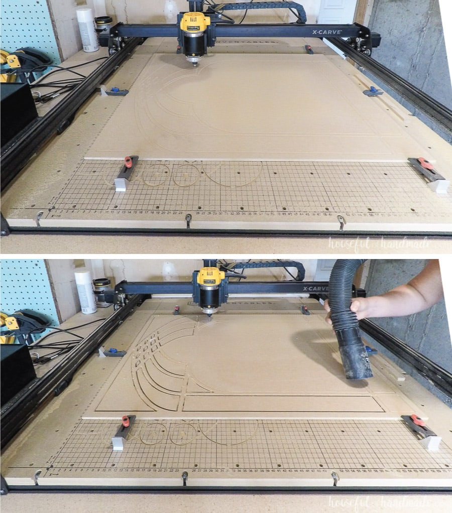The X-carve cutting the window frame mirror panel and carving the chamfer edge.