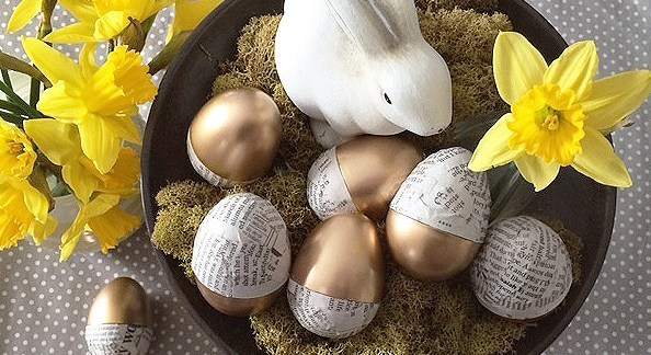 DIY gold dipped & newspaper eggs