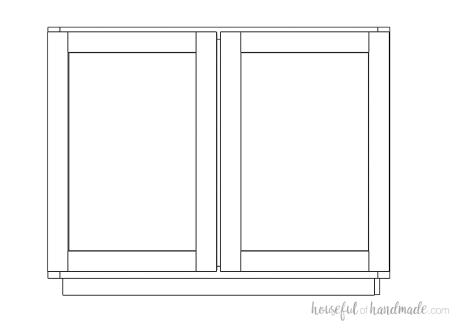 3D drawing of a large cabinet with double doors.