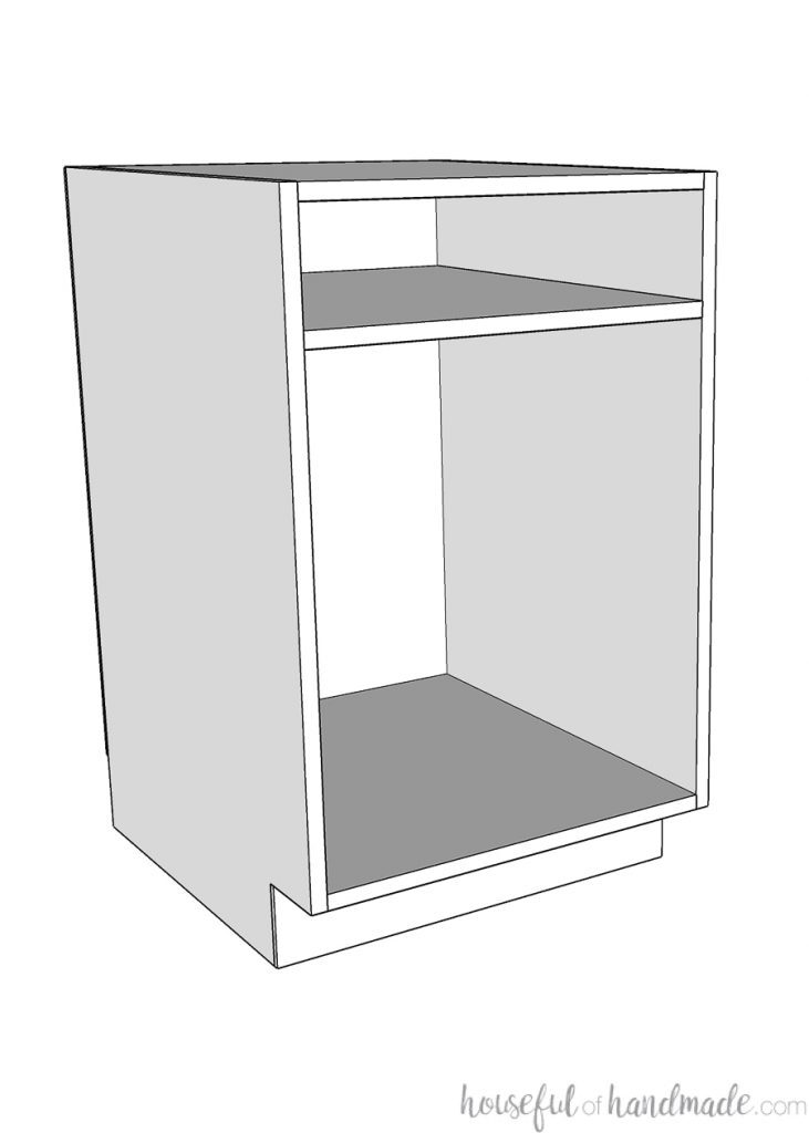 3D Sketch of a frameless cabinet with space for drawer.