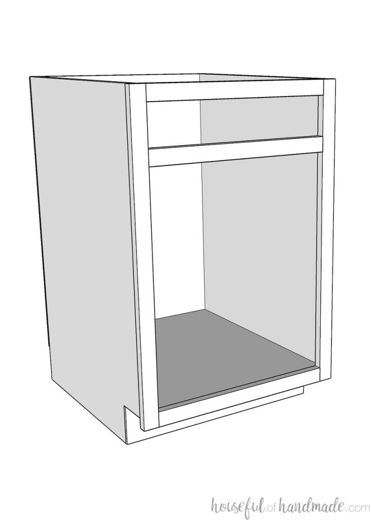 3D sketch of a Face Frame cabinet with a drawer space.