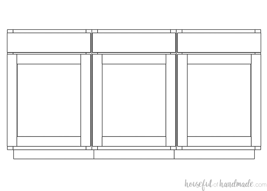 """3D sketch of three cabinets in a row with 1 1/4"""" overlay showing the reveal between the doors."""
