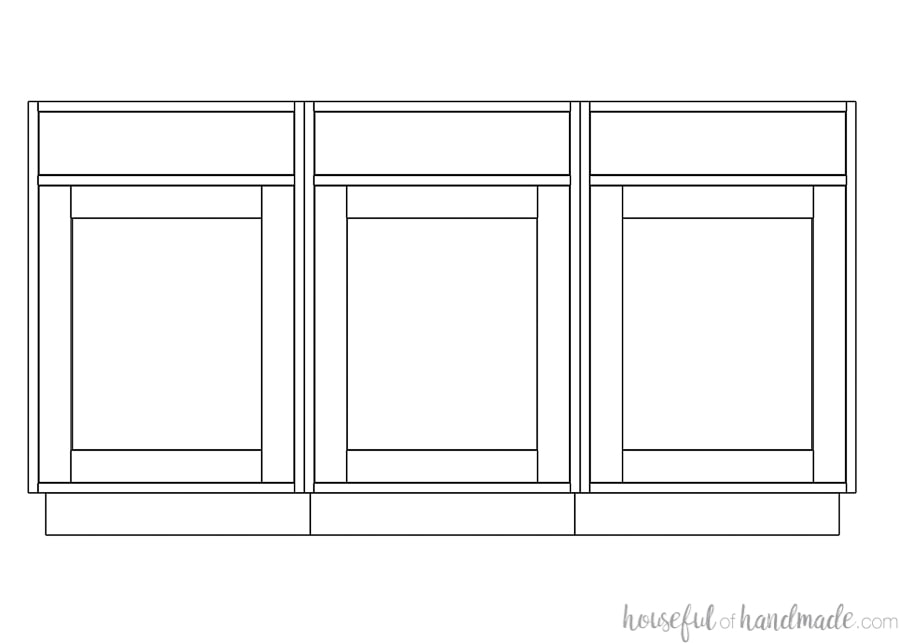Drawing of 3 base cabinets with inset cabinet doors on it.
