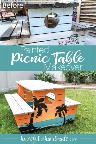 Before photo next to after photo of the tropical painted picnic table.