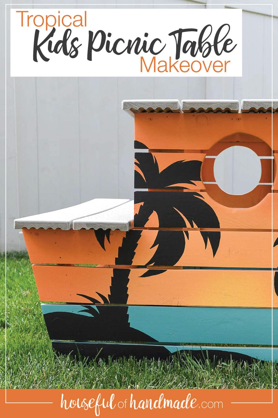 Picture of the tropical painted picnic table with words on it describing it.