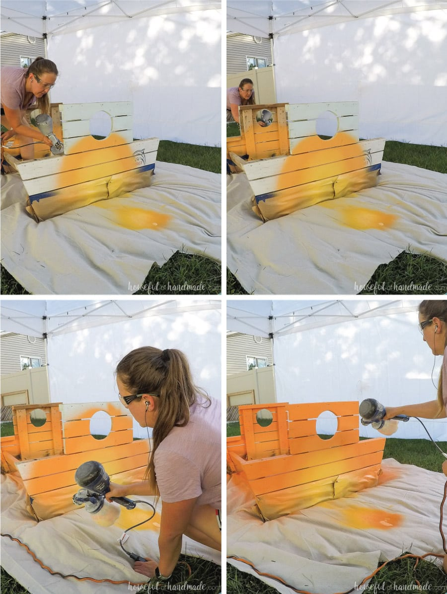 Painting the ombre sunset on the kids picnic table with the paint sprayer.