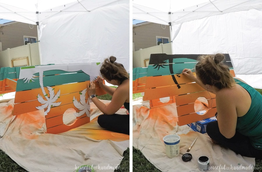 Tracing the template on the picnic table and then painting the palm trees.
