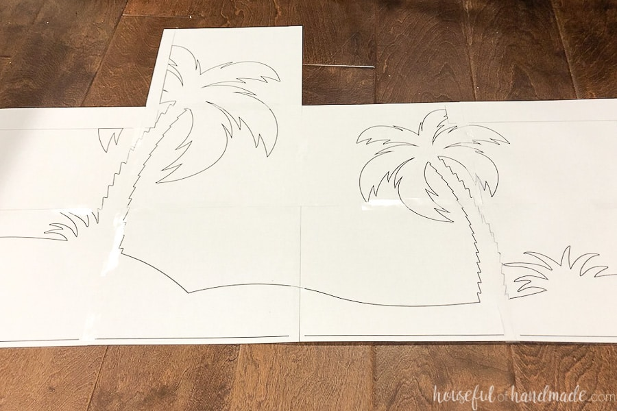 Paper template of the palm trees for the painted picnic table.