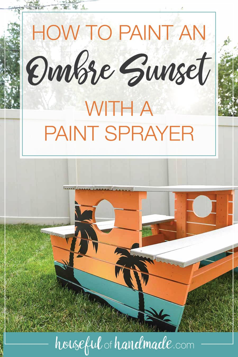 Picnic table painted with an ombre sunset with palm trees over the top with words: How to Paint an Ombre Sunset with a Paint Sprayer in it.