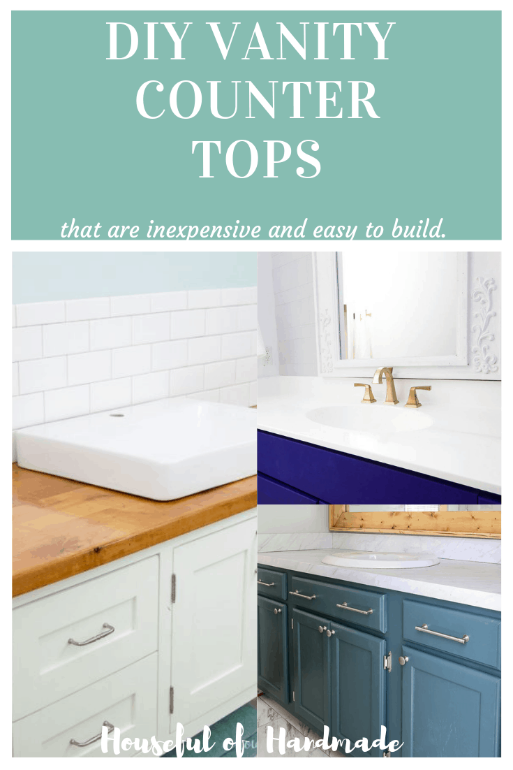 diy bathroom vanity counter tops collage of three vanities