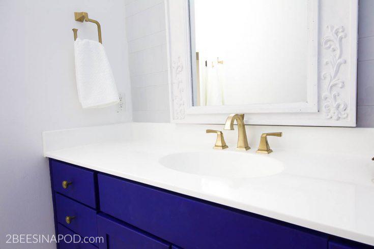 DIY Painted Bathroom Countertop and Sink