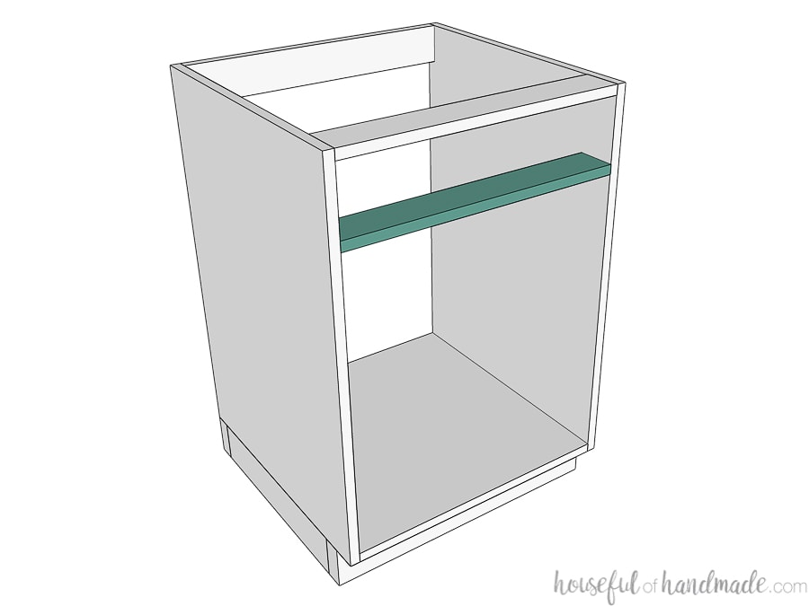 3D drawing of frameless cabinet with support for adding a top drawer.