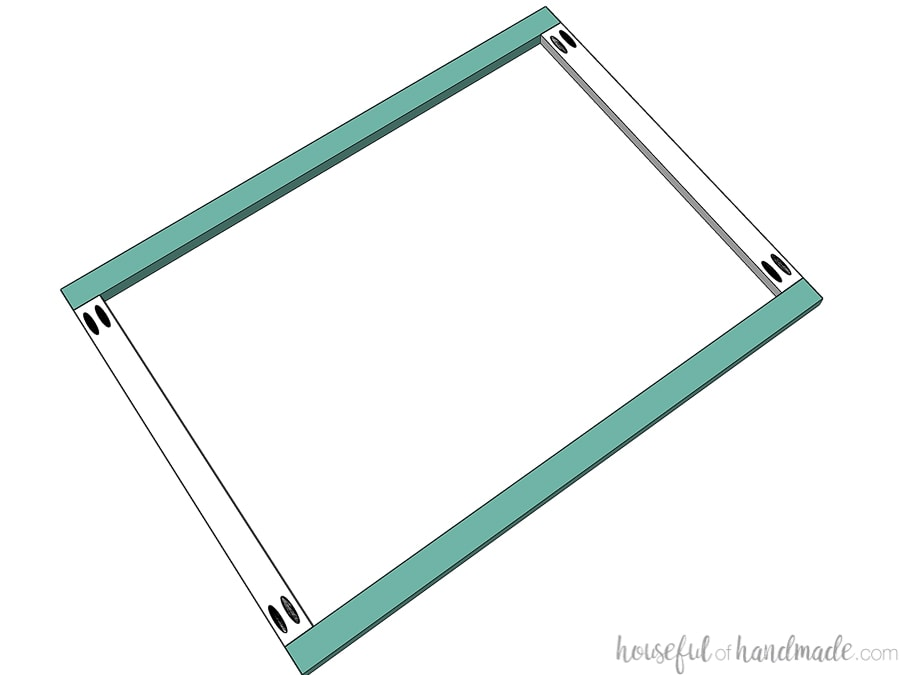 Drawing of the back of a cabinet face frame showing how it is assembled.