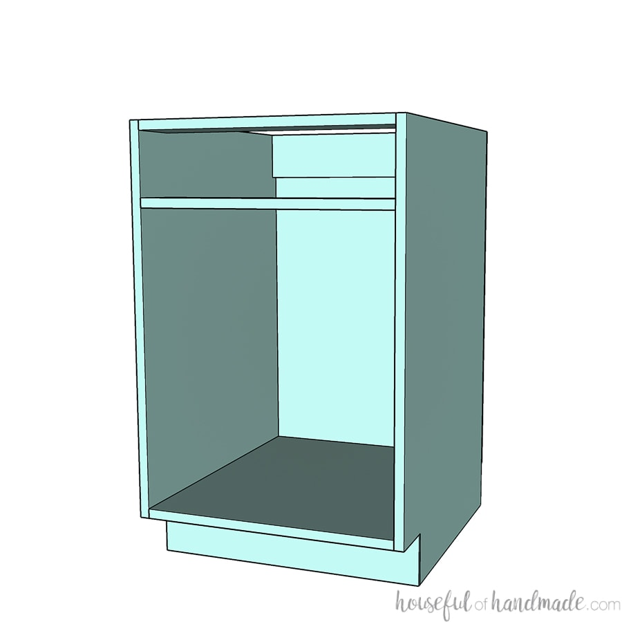 3D drawing of a frameless base cabinet.