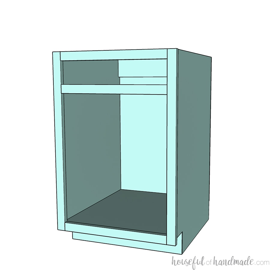 3D rendering of a face frame base cabinet.