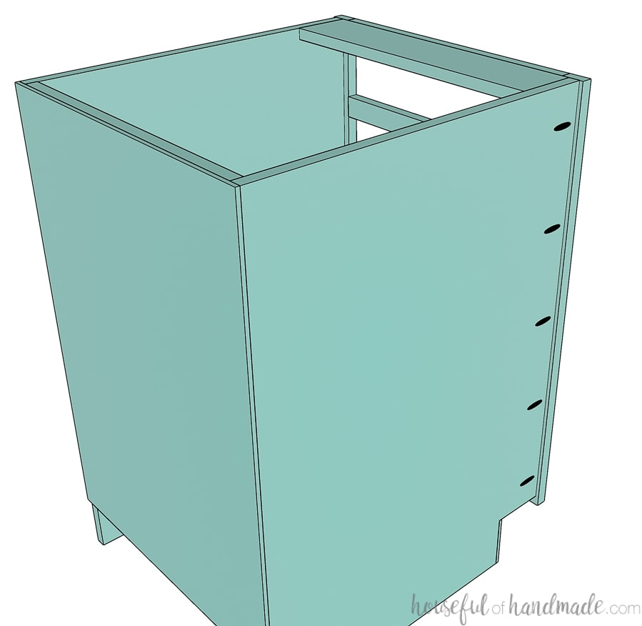 Drawing of the face frame attached to the front of the cabinet box.