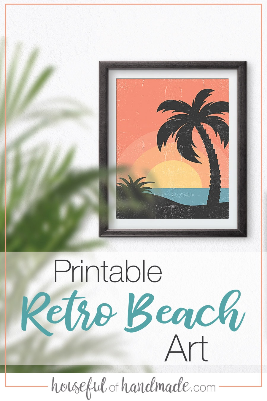 Printable retro beach art with palm trees looking over an ocean sunset.