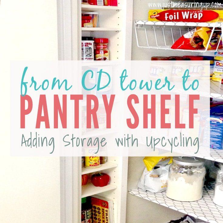 Pantry Storage Ideas | Repurposing a CD Tower into a Pantry Shelf