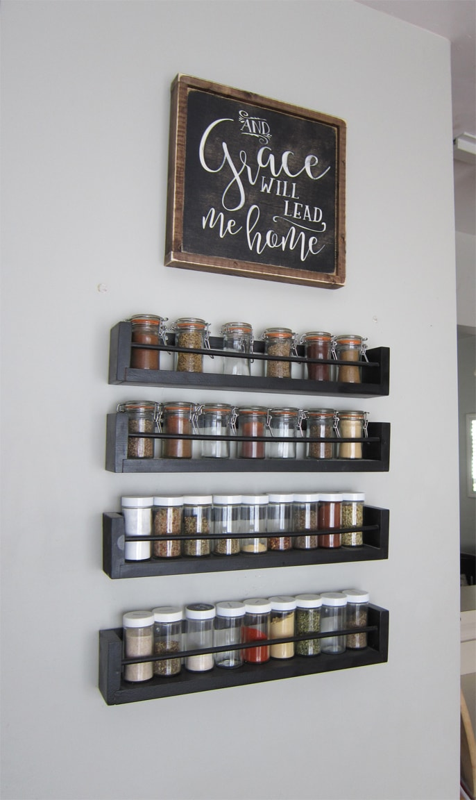 Kitchen Wall Spice Rack - Small Changes Big Impact - The Honeycomb Home