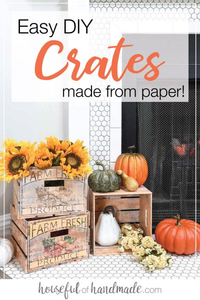 Farmhouse DIY crates decorated for fall by the fireplace.