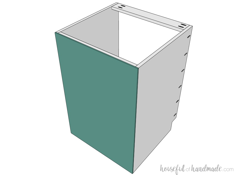 Drawing of the back of the drawer base cabinet with the back panel attached.