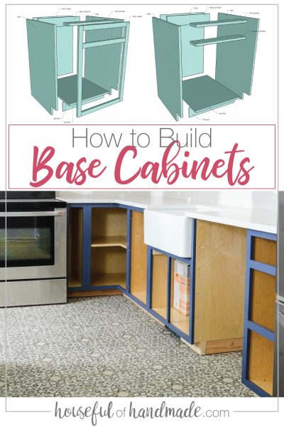 Base cabinet parts drawings with installed cabinets in a kitchen.