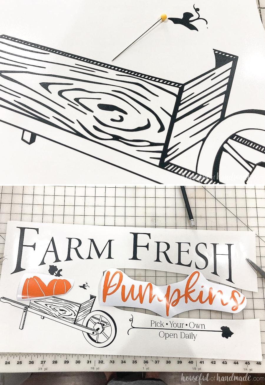 Wood wheelbarrow SVG weeded of excess vinyl and full farm fresh pumpkin design weeded.