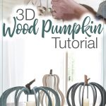 Picture of 3D wood pumpkins with picture of glueing together the piece to make the pumpkins.