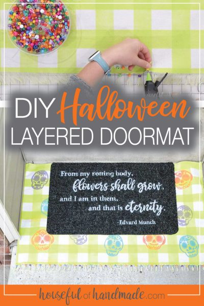 Picture showing how to add beads to the DIY layered doormat and picture of the finished doormat on the porch.