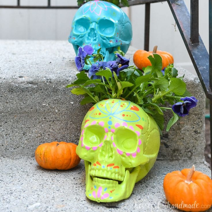 Easy DIY Sugar Skull Planters