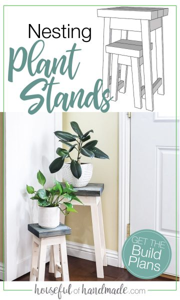 Sketchup drawing of the nesting plant stands next to a picture of the completed build.