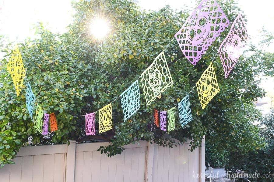 Sugar skull paper banners hanging on a cord between the house and a tree.