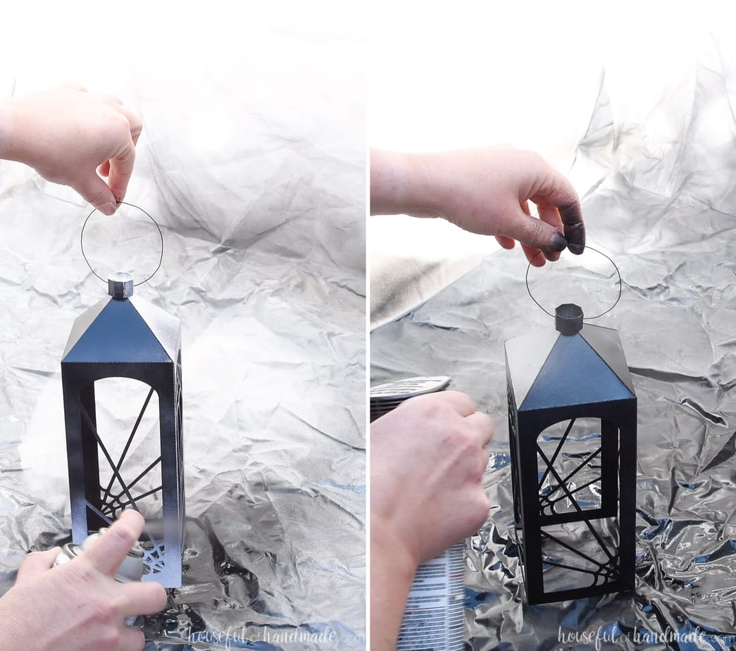 Painting the spiderweb lanterns with black and bronze paint.