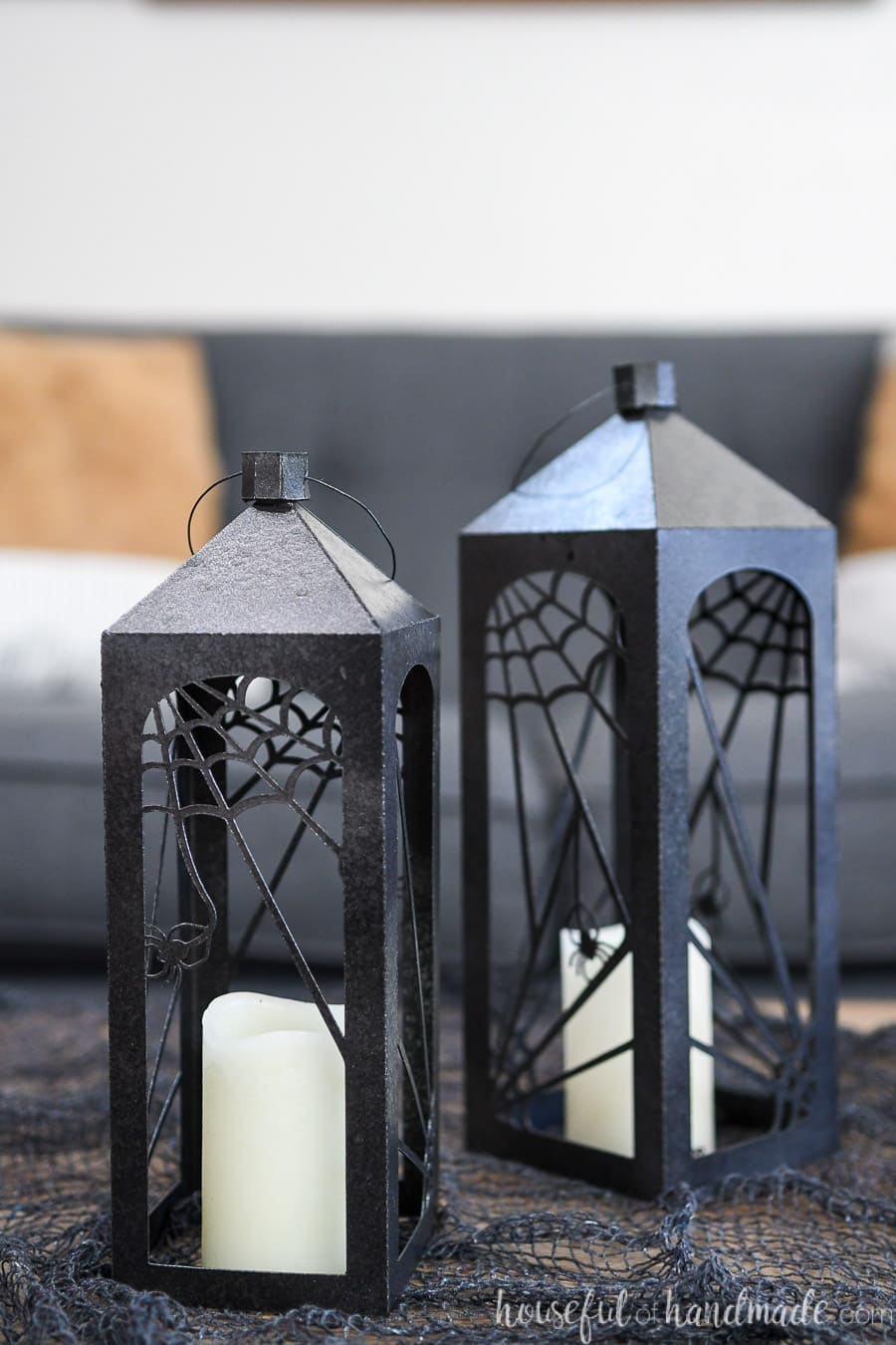Close up view of the large and medium paper Halloween lanterns.