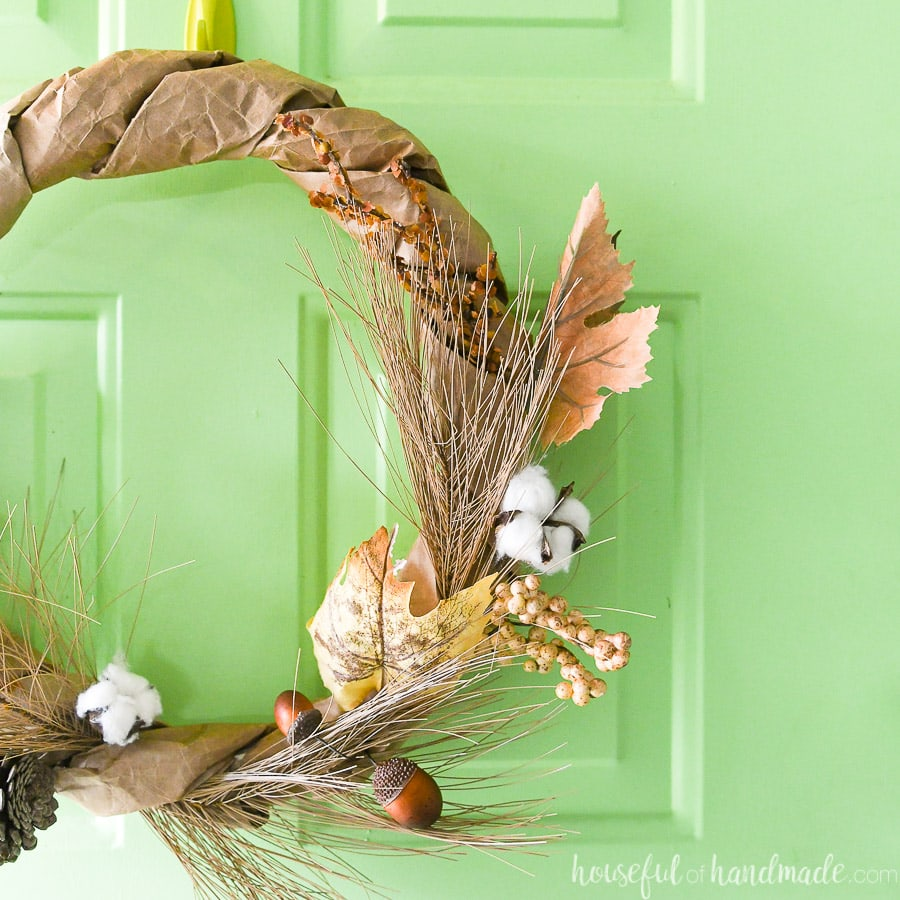 Close up view of the rustic fall wreath made from paper grocery bags.