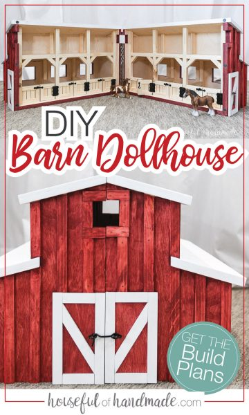 DIY Barn dollhouse pictures: One of it opened up showing the inside stalls and one of the front with it closed up.