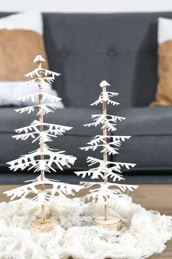Close-up of the unique Christmas tree branch design on the paper Christmas trees.