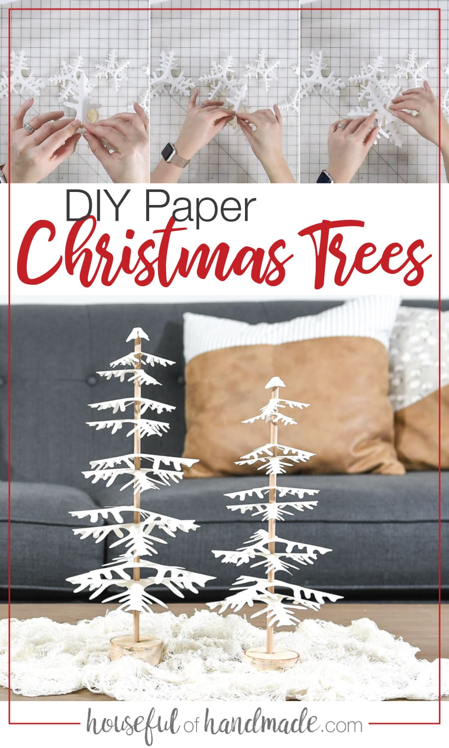 DIY paper Christmas trees on a table and shots of assembling them.