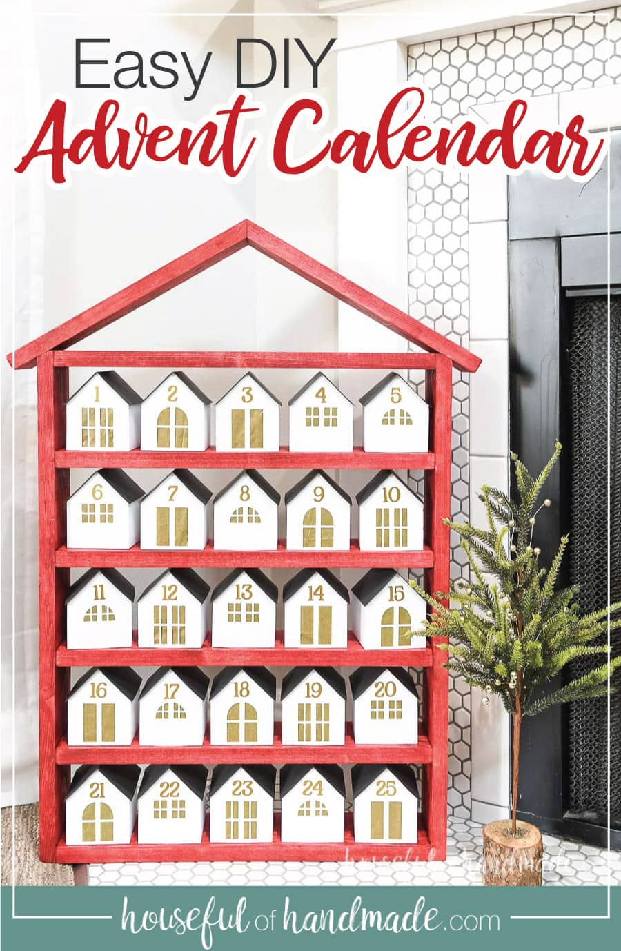 DIY wooden advent calendar made up of a red house shaped shelf with 25 white & gold paper houses on it.