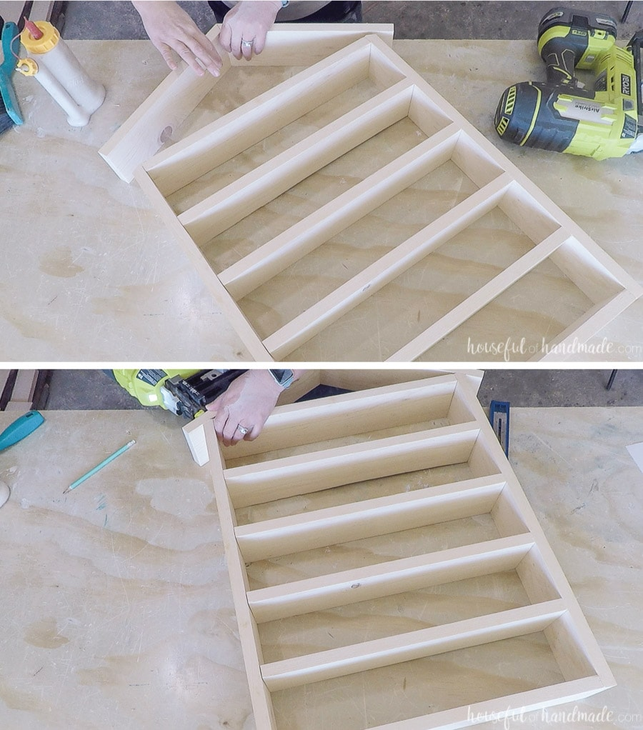 Attaching the roof to the house shaped shelf.
