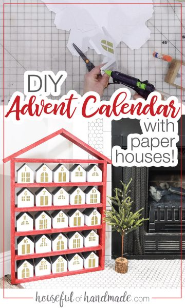 Picture of in-process making the paper houses for the DIY wooden advent calendar and a picture of it completed.