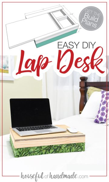 Sketchup photo of the DIY lap desk next to completed build.