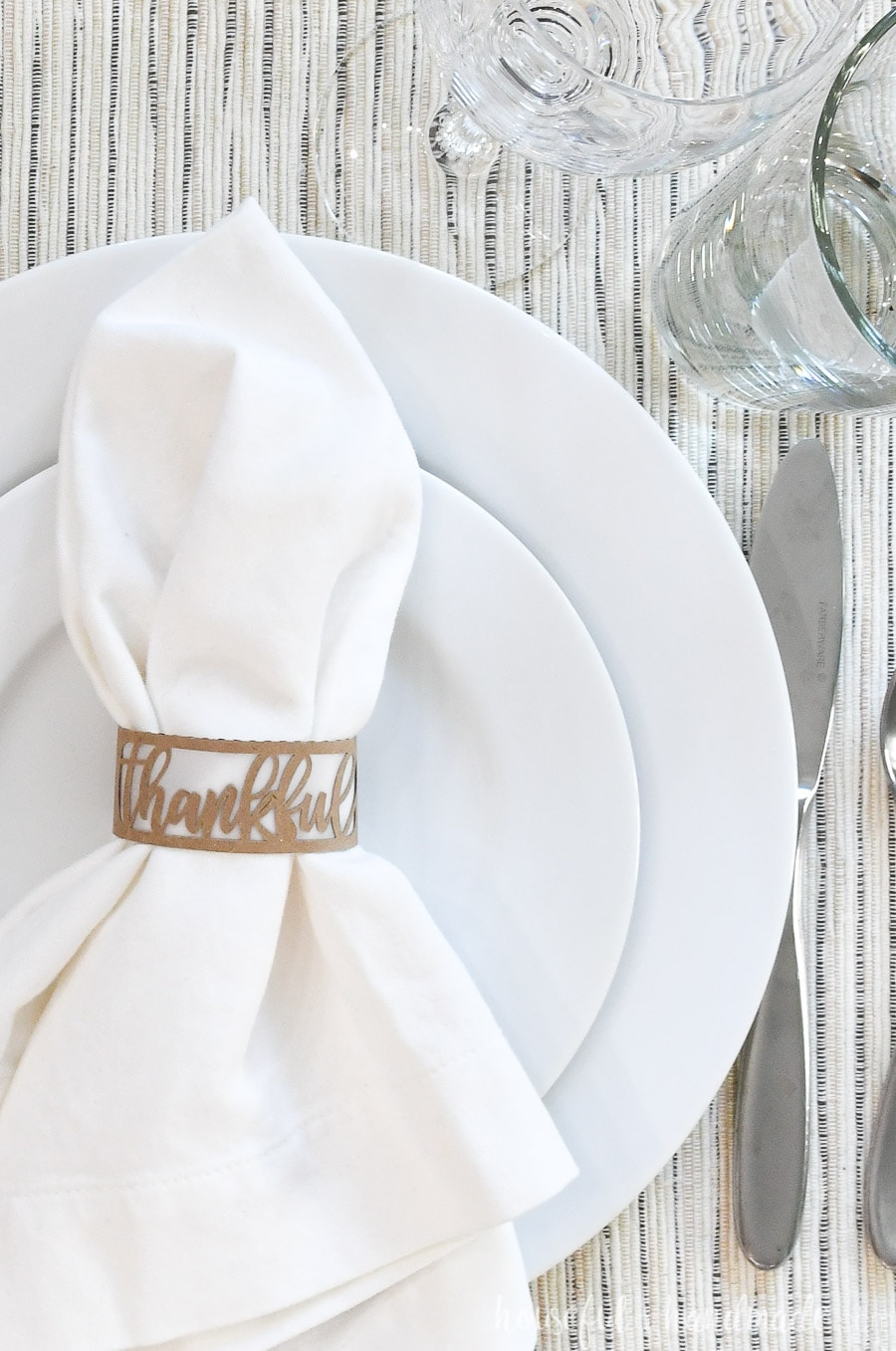 Close-up of the Thankful designed thanksgiving napkin rings.