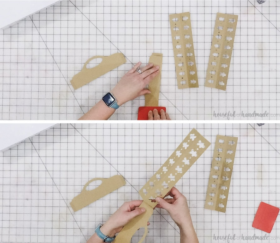 Pictures showing how to put together one side of the tray.