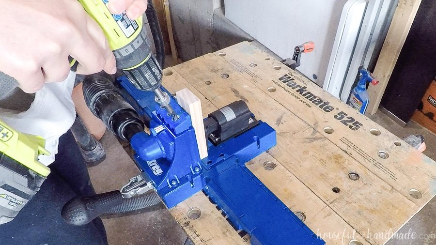 Drilling pocket holes with the Kreg Jig K5.