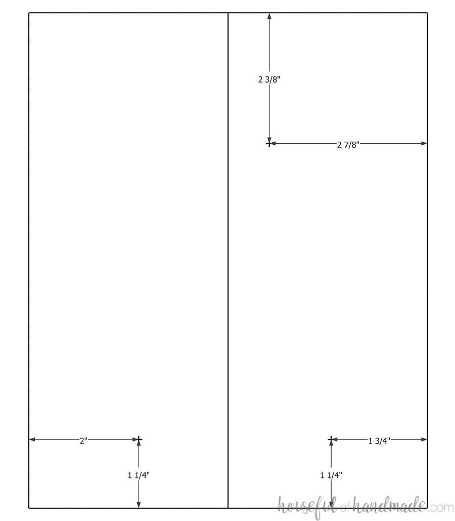 Sketchup drawing showing the center points for drilling the holes.