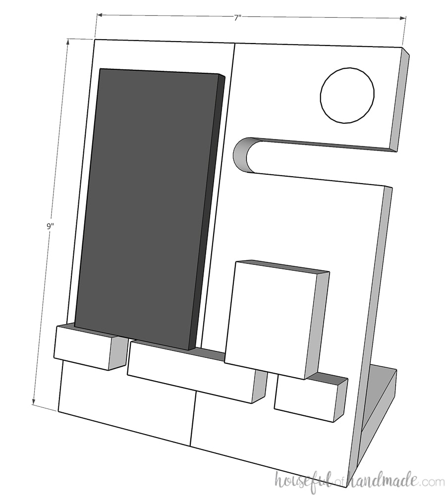 Sketchup drawing of the nightstand valet with measurements on it.