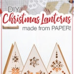 Picture of the paper pieces cut out for the DIY paper lanterns and the finished Christmas tree shaped lanterns.