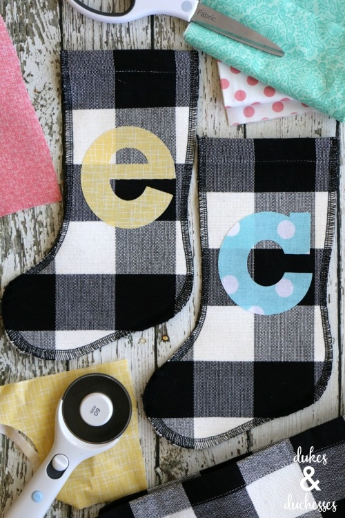 Monogrammed Placemat Stockings Made with the Cricut Explore Air 2